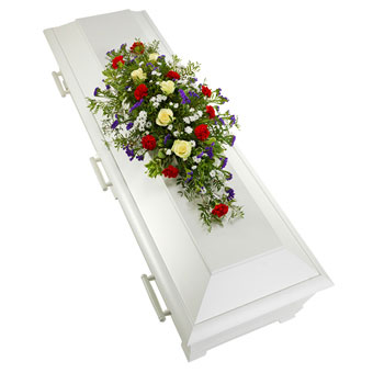 Coffin decoration in white, red and blue colours