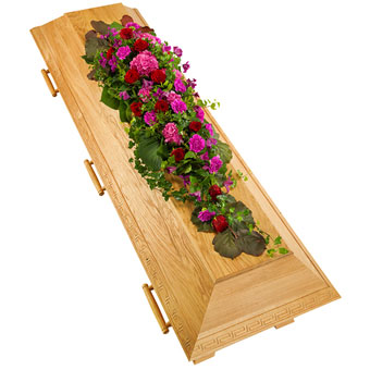 Coffin decoration in cerise and red colours