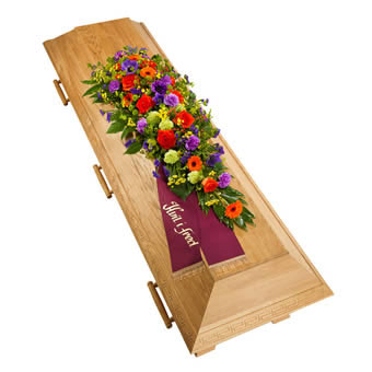 Coffin decoration in mixed colours.