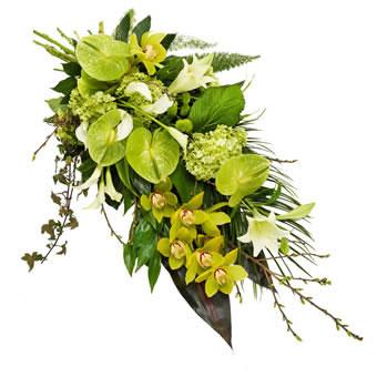Bårebukett i grønt og hvitt