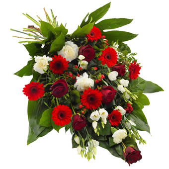 Funeral sheaf in red and white colours
