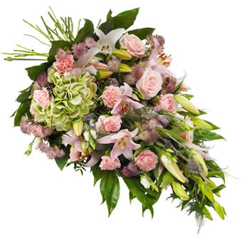 Funeral sheaf in pink colours.