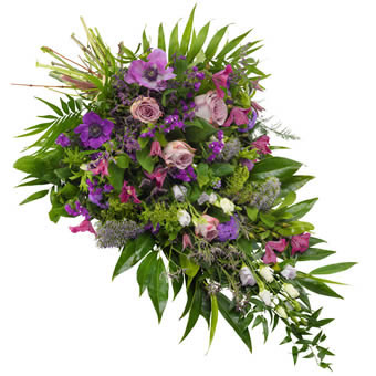 Funeral sheaf in purple and violet colours