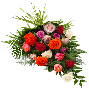 Funeral sheaf in mixed colours
