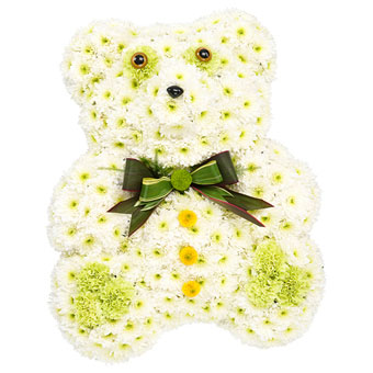 Teddy bear-shaped funeral decoration in white colo