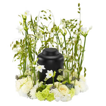 Urn arrangement in white and green colours