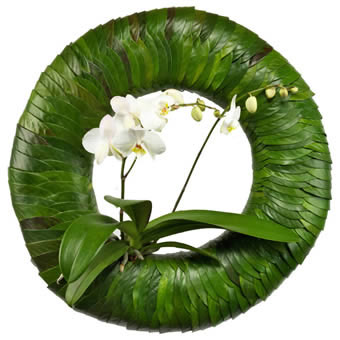 Shield of green funeral wreath