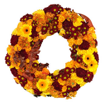 Warm and colourful funeral wreath