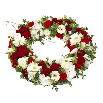 Wreath in red and white - Big