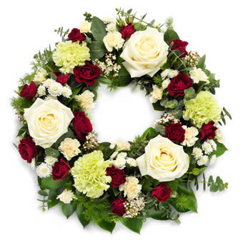 Funeral Wreath in White and Red