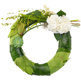 Funeral wreath in green and white colours.