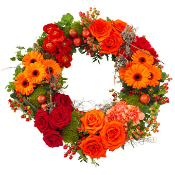 Wreath in warm colours