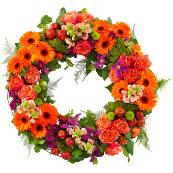 Funeral wreath in orange