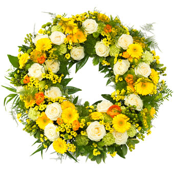 Funeral wreath in yellow, green and white colours.