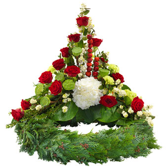 High funeral arrangement on a wreath in red and wh