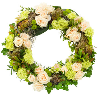 Funeral wreath in white and green colours.
